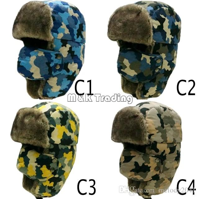 Russian Ear Flap Hat Fashion Camouflage City Hunter Same Checkered Jacquard  Trapper Bomber Cap Hat Windproof Caps Hats Beanie Online with  8.08 Piece  on ... 7135a98f029
