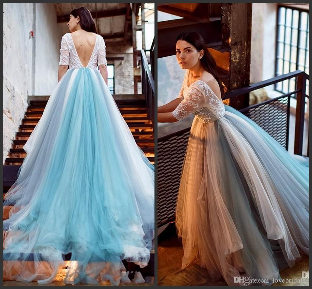 afad8c1b9f3 2017 Light Sky Blue Lace Applique Illusion Long Sleeves A Line Backless Prom  Dresses Beads Tulle Sweep Train Evening GownsFormal Wear Prom Dress Shoes  Prom ...