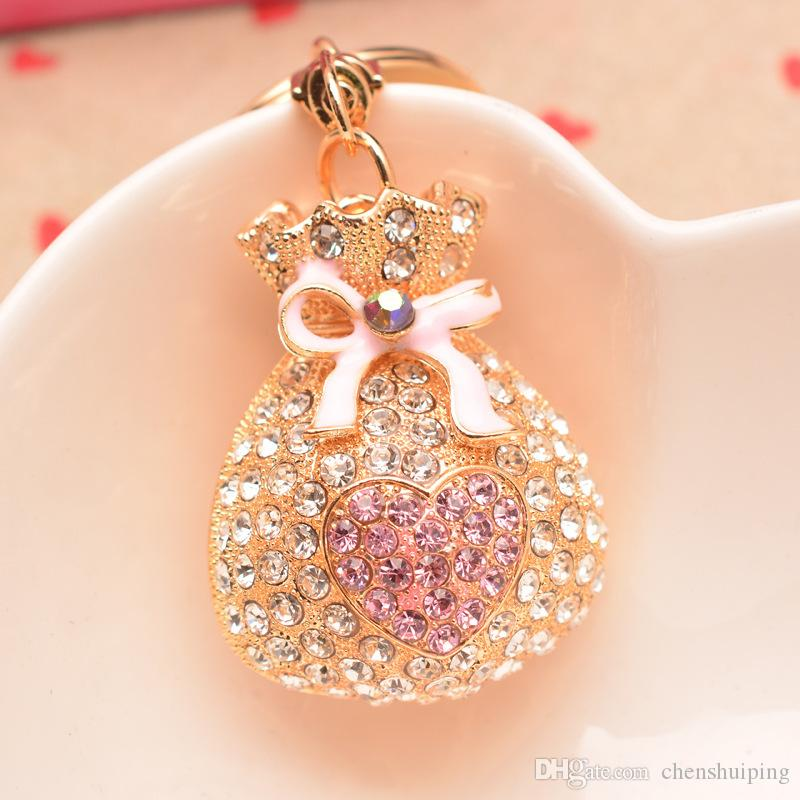 Love purse jewelry rhinestones crystal keychain alloy key chain car key ring pendant creative Korea style DIY handmade
