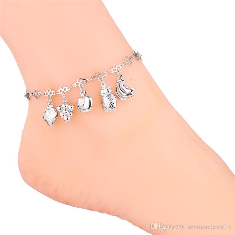 U7 Women Anklet Sweet Different Fruits 18K Real Gold/Platinum Plated Foot Bracelet Fashion Cute Jewelry 7-A938