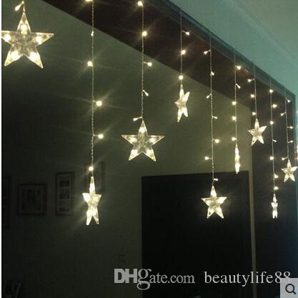 3 * 0.6M120 lights 12-pointed star cut window decoration curtain curtain marriage room layout flashing LED lights string