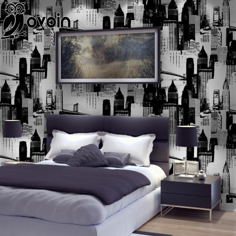 Simple vinyl black silver city wall paper photo mural for Black and silver living room wallpaper