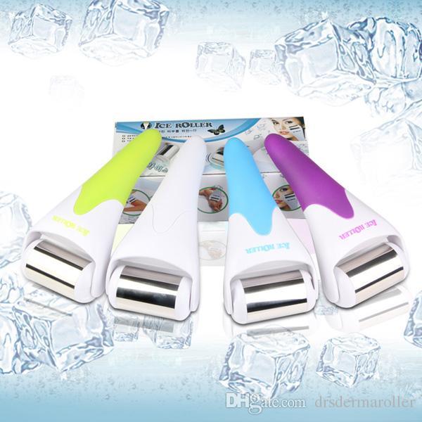 Pele gelada gelo derma roller rolo de gelo para rosto e corpo massagem facial e prevenir rugas