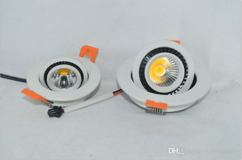 COB 3W 5w Dimmable водить утопленный пятно света на 360 градусов Вращающаяся светодиодные светильники AC85-265V потолочное освещение для внутренней отделки