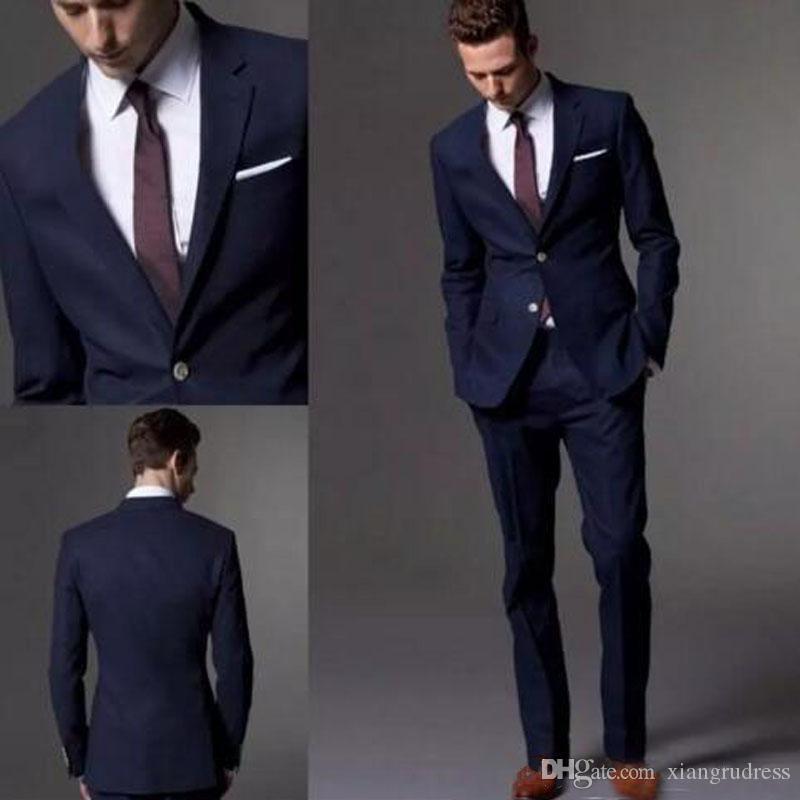 Custom Made Dark Navy Blue Wedding Tuxedos 2018 Fashion Groom Suit Wedding Suits For Men Slim Fit Groom Tuxedos jacket+vest+pant