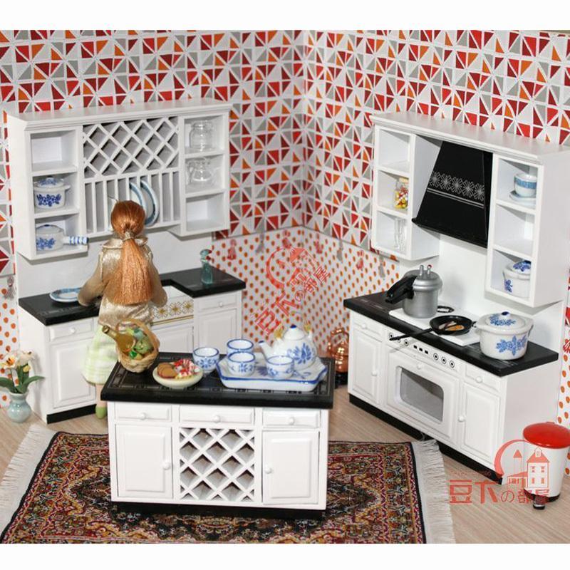 Acquista 1:12 Scala Dollhouse In Legno In Miniatura Set Di Mobili In ...