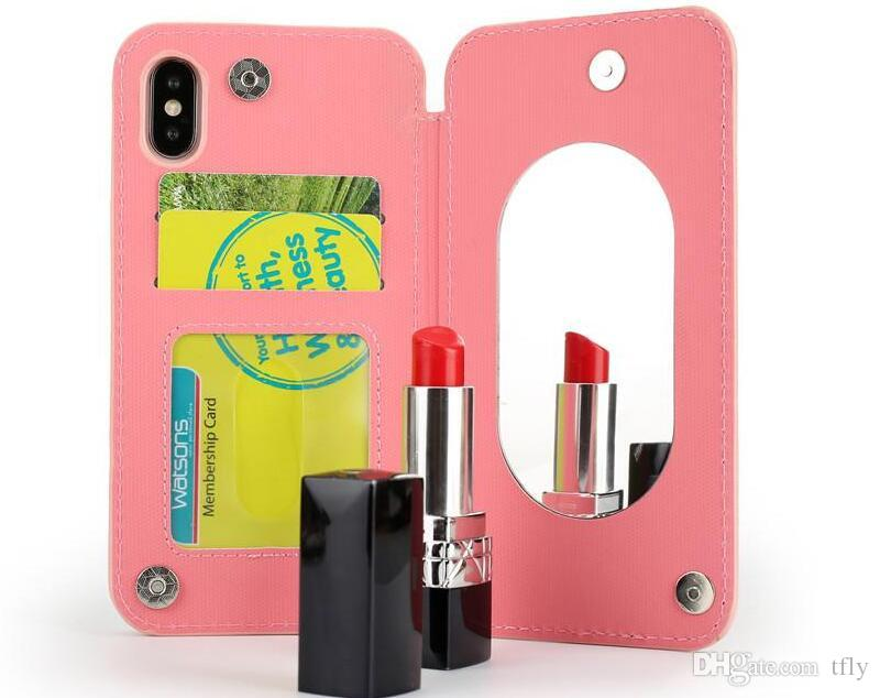 Acrylic Mirror Wallet Cell phone Case Lady Gilrs Makeup Leather Back Cover no Chain Card Slot For IPhone X 8 7 6 6S plus Samsung Note8 S8