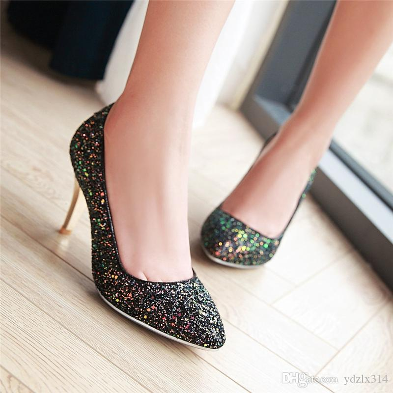 New autumn sequins pointed toe shallow mouth high heels women fashion thin single shoe wedding bridesmaid 2017 sexy nightclub shoes black