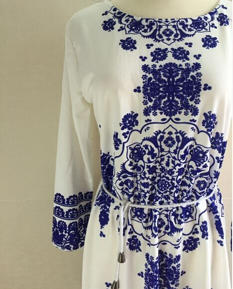 Women Dresses Summer 2015 Fashion New Sexy Mini Digital Printing Women's Blue and White Long-sleeved Dress Chiffon Womens Casual Dresses