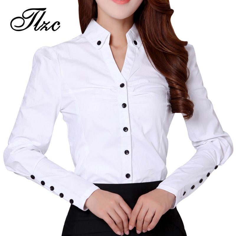 Wholesale Beauty OL Style Lady White Shirts Plus Size S 3XL Summer Office  Formal Clothing 2017 New Korean Women Career Tops Printed Shirts Design  Shirts ... aae62d107c1e