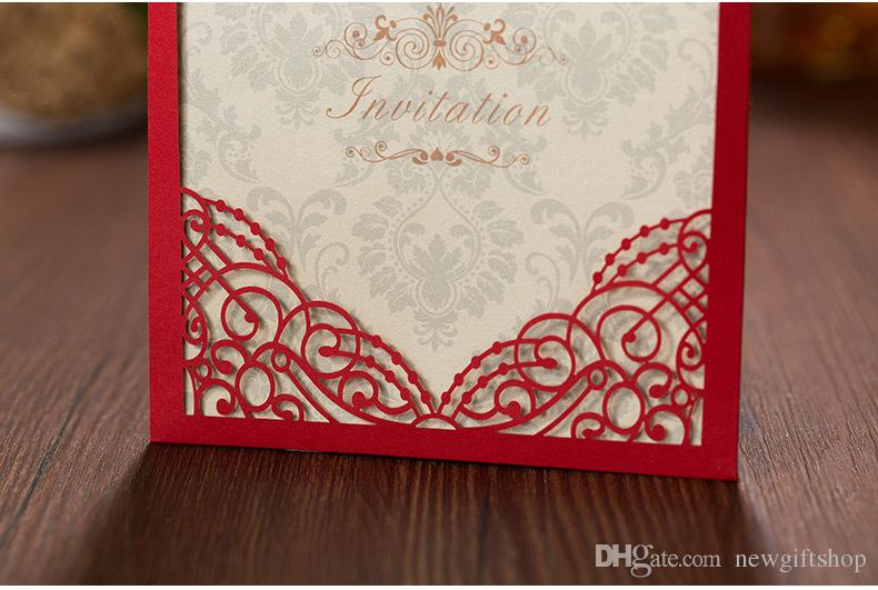 Luxury Laser Cut Wedding Invitations Red Embossed Floral Birthday Cards Engagement Marriage Party Invites Favors Supplies