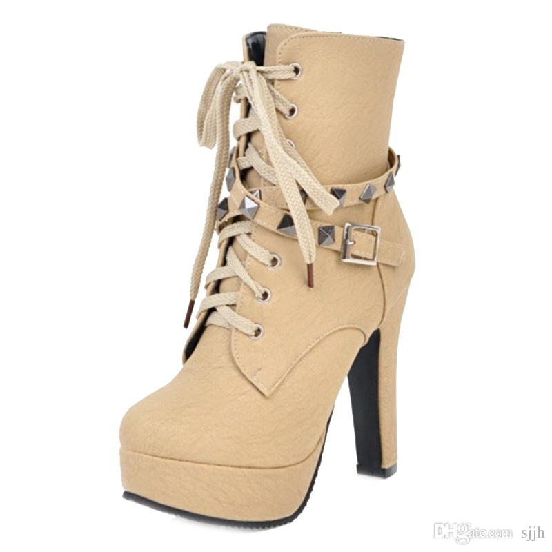 SJJH Women Ankle Boots with Large Size and High Chunky Heel and Thick Platform Rivet Boots Sexy Boots for Parties Q073