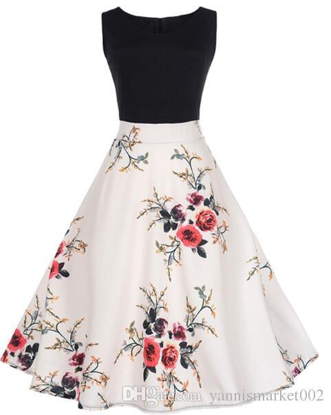 Женское летнее платье 2019 контрастного цвета с цветочным халатом Ретро Свинг Повседневная 50-х годов Винтажные платья рокабилли Свадебные платья