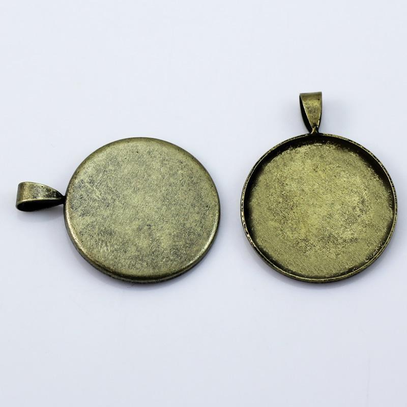 Beadsnice 펜던트 기본 빈 베젤 카보 숑 귀하의 보석 만들기에 적합 설정 25mm 둥근 cabochon 구멍 3X5mm ID10820