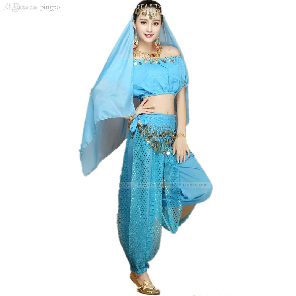 wholesale princess jasmine costume adults aladdins princess jasmine cosplay genie costumes halloween costumes belly dance clothing costum jewlery costume