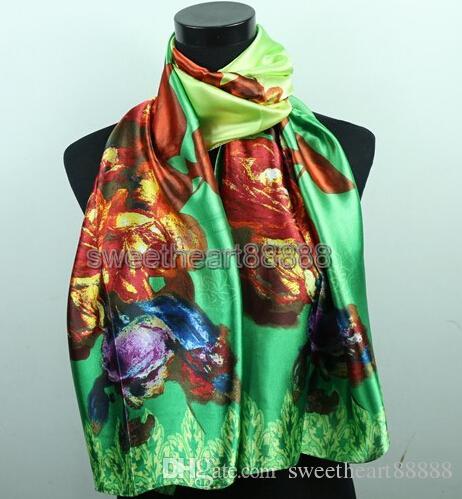 1 sztuk Czerwony Fioletowy Róża Rose Zielony Damska Moda Satynowy Obraz Olejny Długi Wrap Szal Brzeg Silk Scarf 160x50 CM