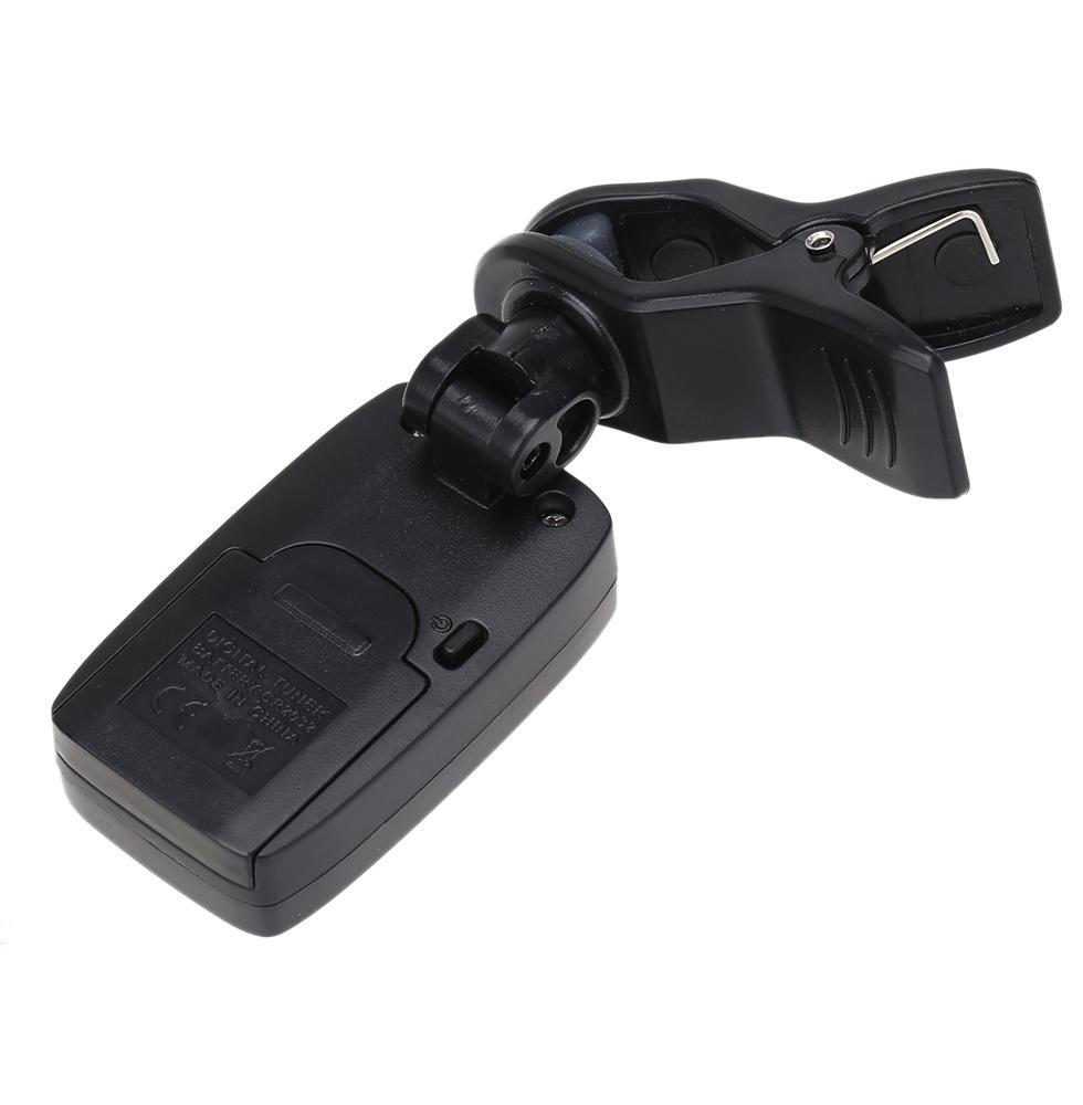 Moda caliente Mini Aroma AT-200D Clip-on sintonizador de guitarra eléctrica Pantalla retroiluminada de tres colores para guitarra Ukelele bajo cromático