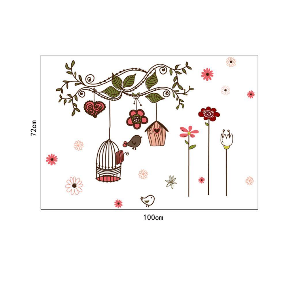DIY 아름다운 방 스티커 데코 벽 Sticke 꽃 만화 새 새장 포도 나무 스티커 바탕 화면 아트 데코 벽화 스티커, dandys
