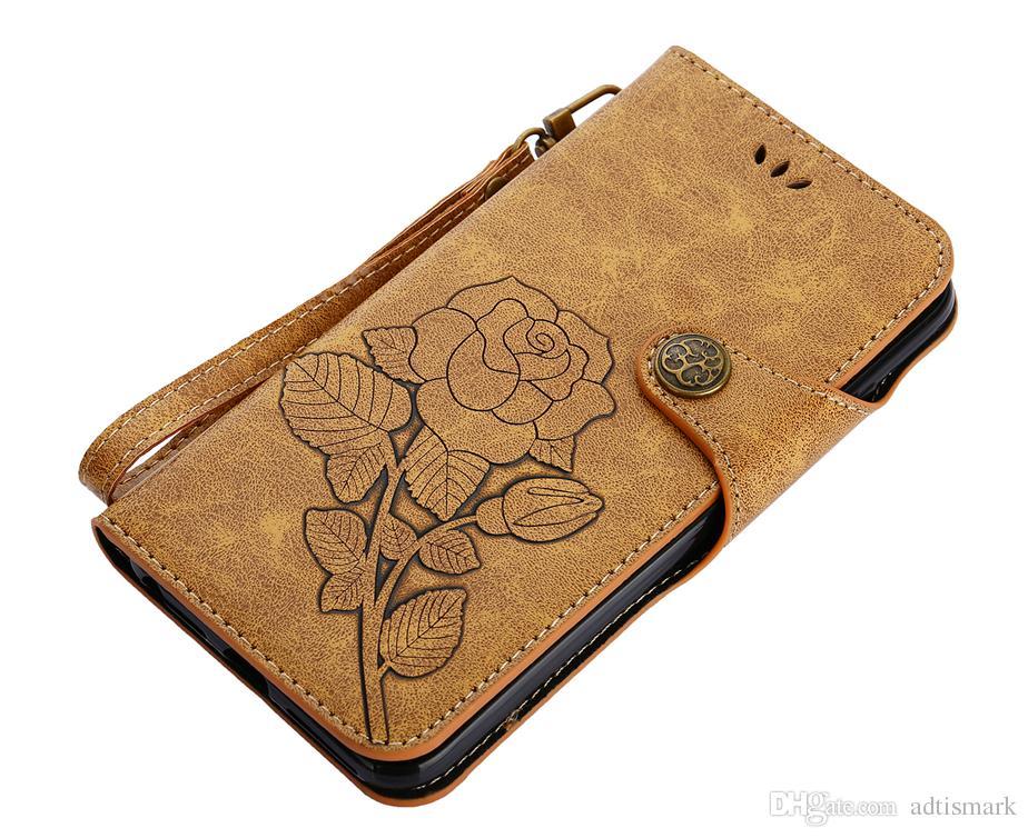 Flip Abdeckung Für iPhone 8 7 6 5 4 Fall Leder Luxus Vintage Rose Fällen Für iPhone8 iPhone7 iPhone6 Plus Fall