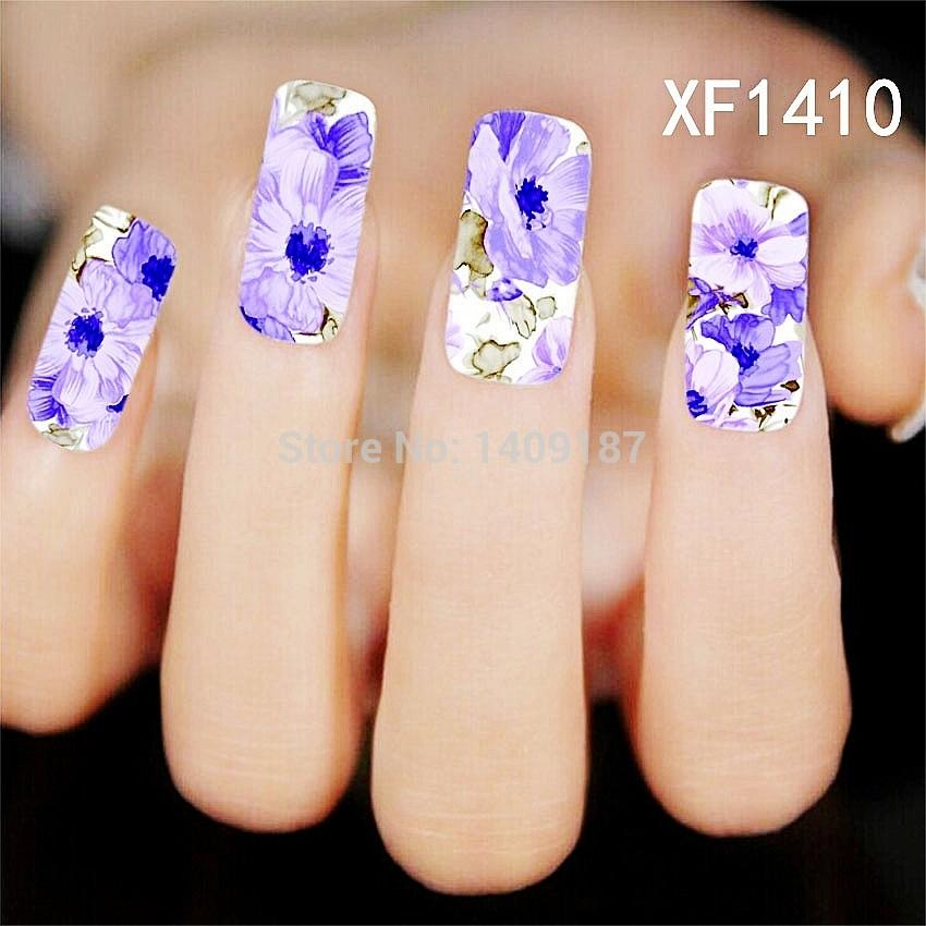 Min Order 5 Purple Water Transfer New Nails Stickers Tips Design