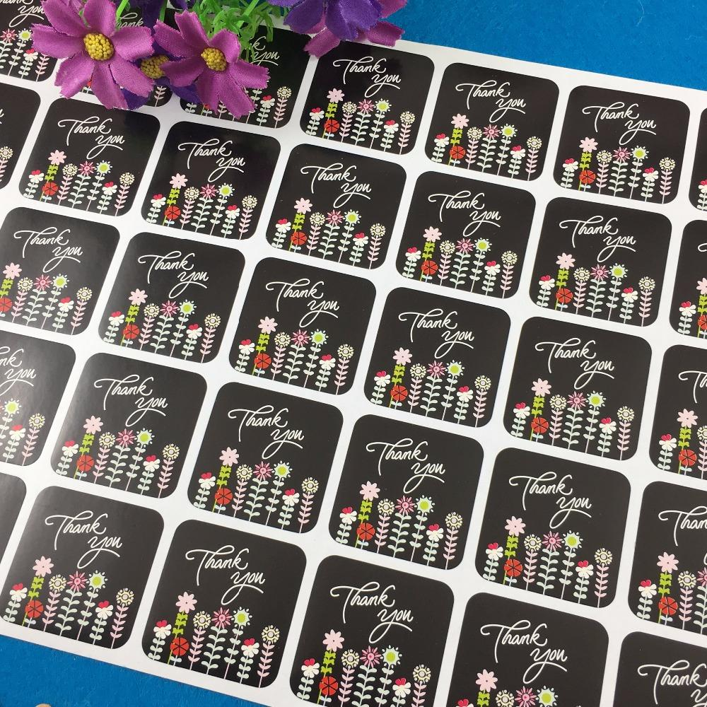 3.5*3.5cm square black thank you sticker labels with flowers design