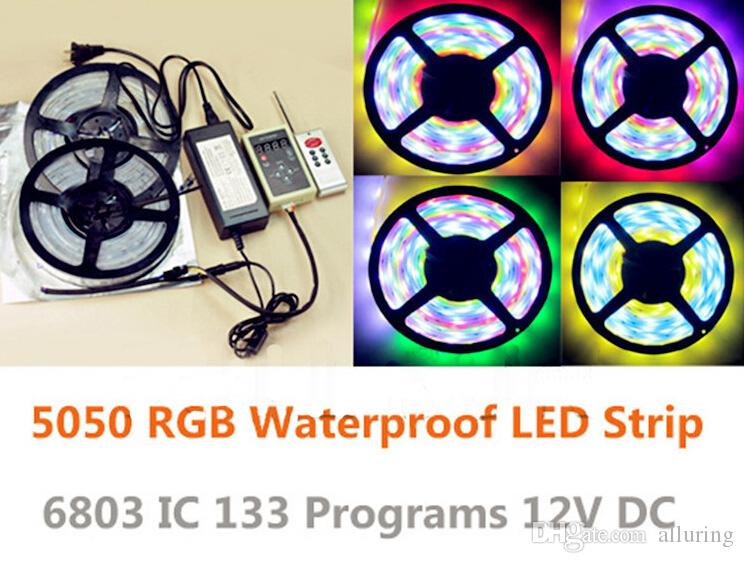 Wholesale-10m smd 5050 rgb led strip light waterproof ip67 dream colorfull led stripe 6803 ic + 12V 5A power adapter + led controller
