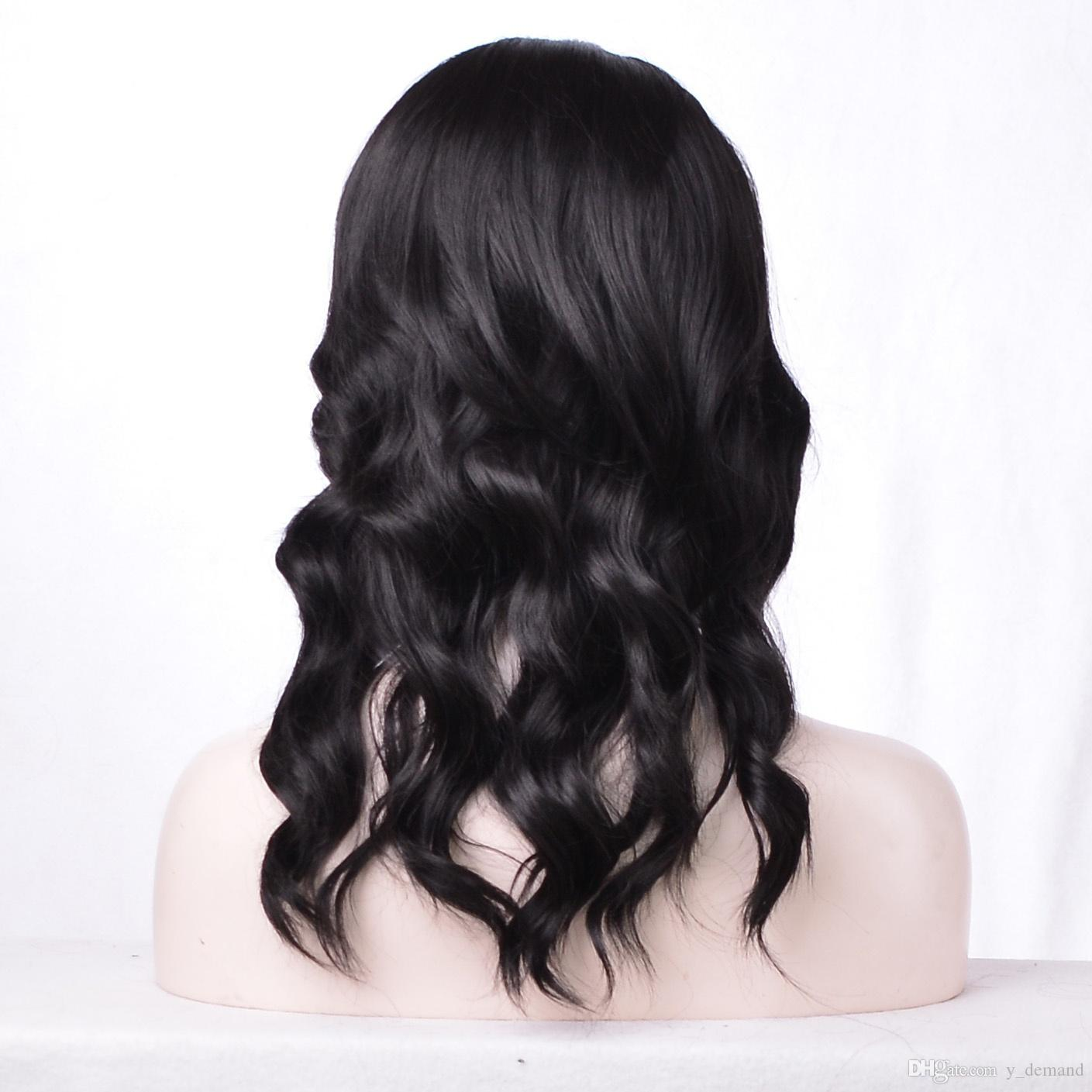 Popular Style Simulation Human Hair Wigs Loose Wave black Wig with middle part In Stock For Fashion Girl