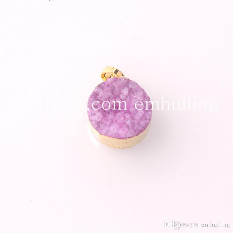 Multicolor Ágata cruda Piedra áspera en bruto Chapado en oro Druzy natural Clústeres Geode Piedra Drusa Gema curativa Reiki Collar colgante para regalo