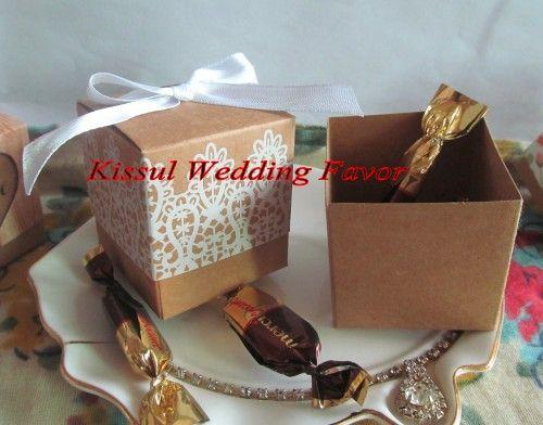 2016 Criativo Caixa de Presente de Casamento de Rústico e Rendas Kraft Caixa Favor para o Casamento e Decoração Do Partido caixa de Doces e Caixa de favor de Partido 100 pçs / lote