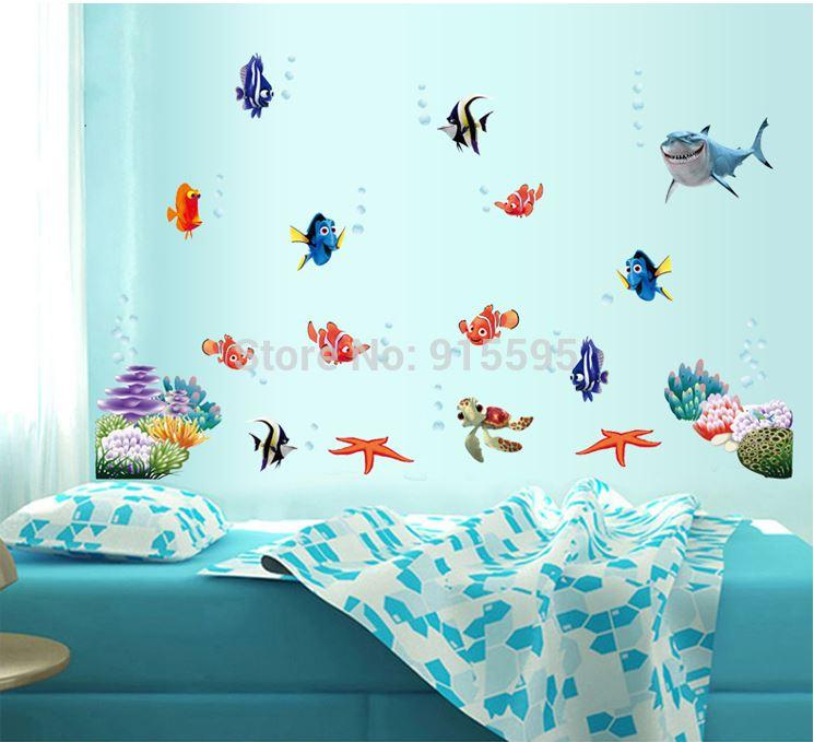 :Finding Nemo Under Sea Fish Cartoon 3d Glass Window Wall Sticker For Kid  Room/Self Adhesive Vinyl Wall Decals Art Wall Stickers Artistic Wall Decals  From ... Part 53