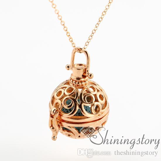 Rodada openwork difusor colar de óleo essencial de jóias por atacado perfume jóias óleos essenciais jóias de metal de pedra vulcânica