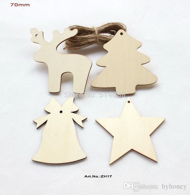 wholesale 4 styles unfinished natural wooden assort christmas ornaments deer star tree bell tags strings hanging 70mm zh17 christmas decorations for kids