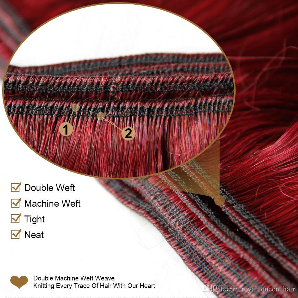 Burdeos, armadura de cabello indio, paquetes de grado 8A, vino tinto, 99J, pelo de la Virgen de la India, onda del cuerpo, 3/4 piezas, lote de visón humano de Remy, extensiones de cabello humano