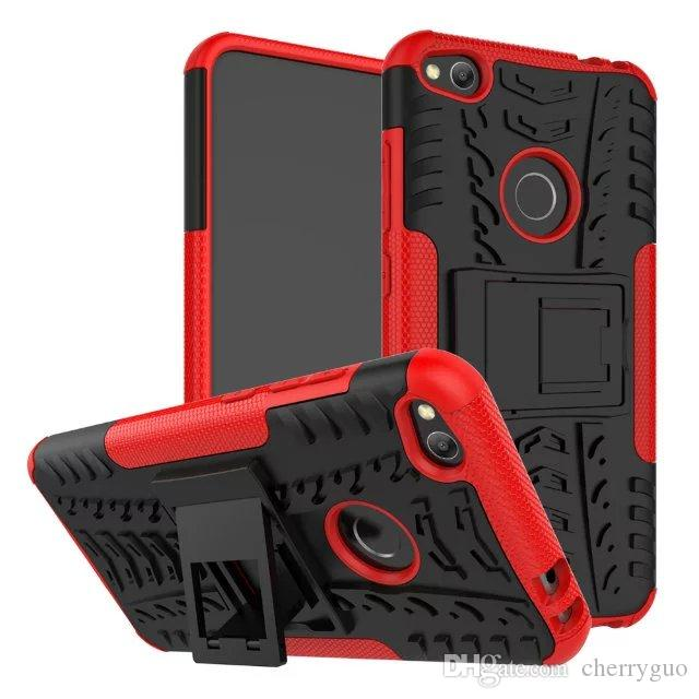 Shockproof Rubber Hard Armor Hybrid Rugged Case Protective Stand Cover for Huawei P8 Lite 2017/P9 Lite 2017/Honor 8 Lite