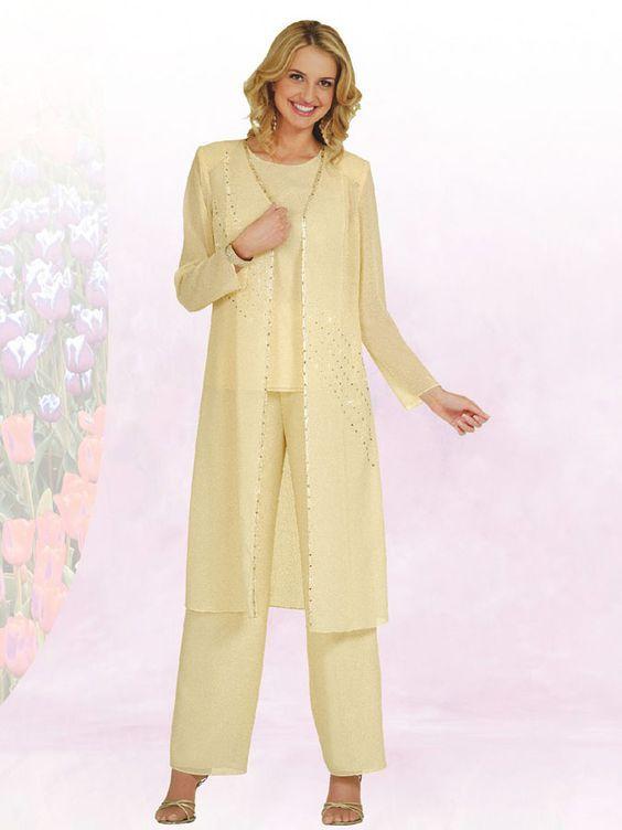 Dama mujer de manga larga fiesta formal trajes de pantalón con chaqueta larga boda madre de la novia novio pantalones trajes de lentejuelas de gasa