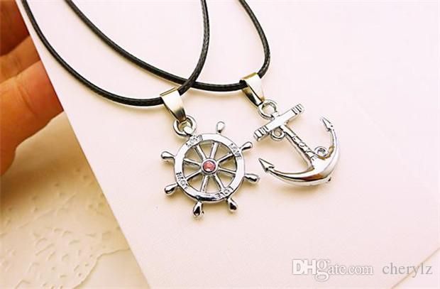 Romantic Lover Necklaces Fashion 925 Silver Anchor Keychains Pendant Necklaces Men Women Long Leather Necklaces Best Gifts Y139