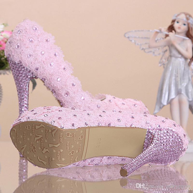 Super High Heel Bridesmaid Shoes Black Lace Rhinestone Bridal Wedding Shoes Beautiful Graduation Party Prom High Heels