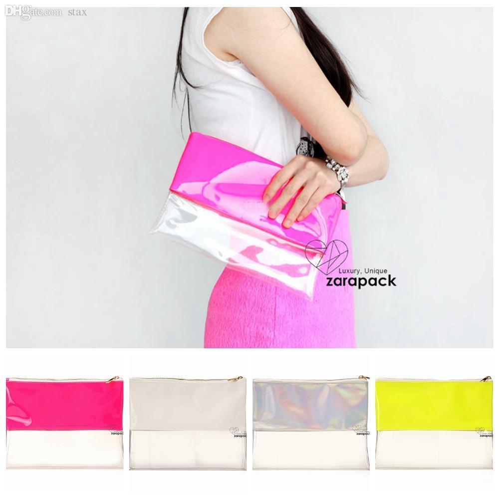 2c32dd6a9cea Wholesale Designer Wholesale Neon Hologram Two Tone Transparent Women  Handbag Clutch Purse IT Bag Multi Color Cheap Handbags Cheap Purses From  Stax