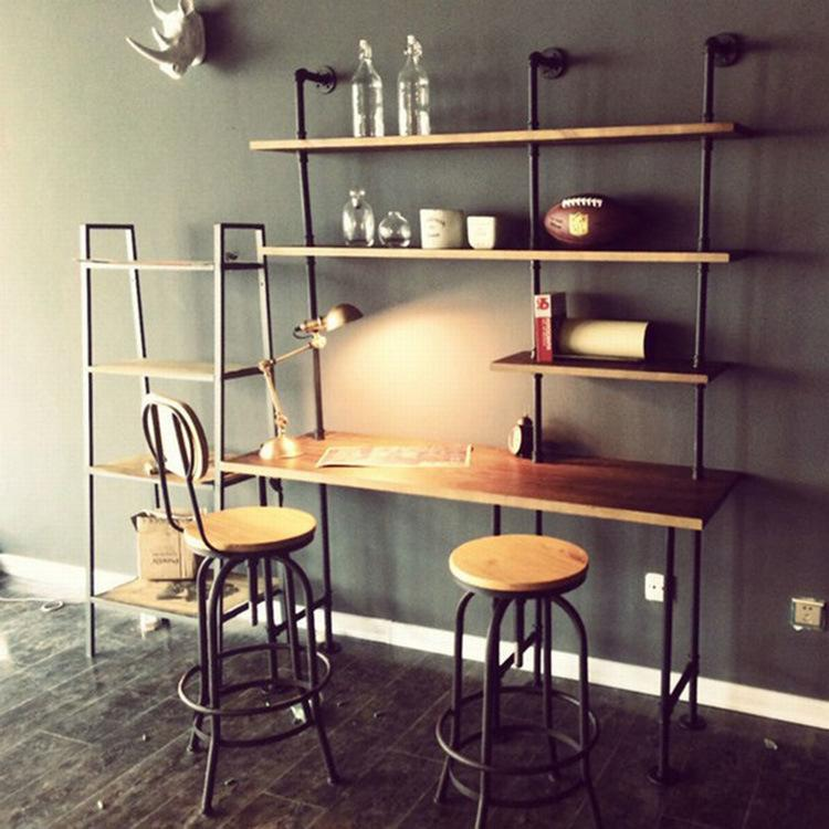 American Iron Pipe Wall Shelf Computer Desk Combination Of Vintage Style Creative Personality Bookshelf With 821 11 Piece On