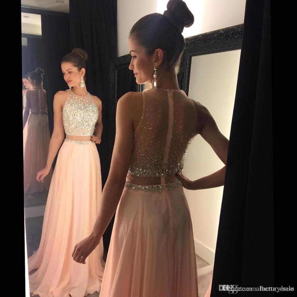 Blush rose Crop Top robes robe de bal deux pièces en cristal d'argent pure en mousseline de soie sexy longue robe pour les robes de soirée de remise des diplômes