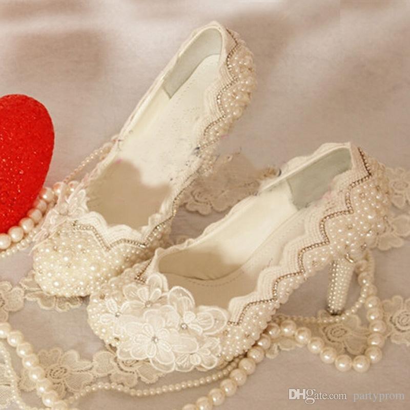 Zapatos de vestir formales de lujo de marfil Zapatos de novia de encaje hermosa flor de la boda Plataformas más el tamaño 34-43 bombas de fiesta de graduación