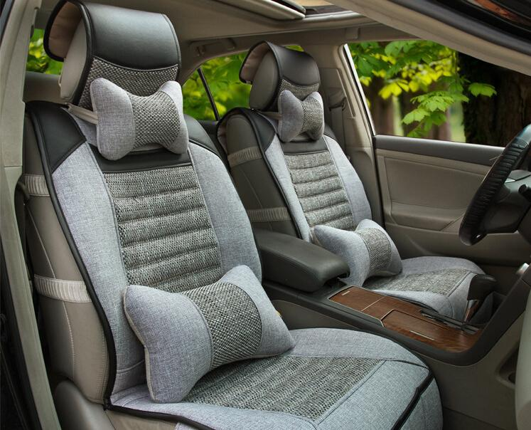 Car Seat Covers With PillowBack Support High Quality Flax Automobiles Accassories Interior Cover Universal Infant Carrier