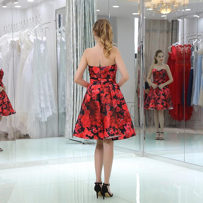 Red Short Prom Dresses Sweetheart Ruffle Sleeveless Keen Length Flower Backless Cocktail Dresses Party Gown Custom Made Plus Size 16-B037