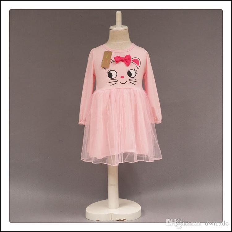 Прекрасные девушки розовые платья с длинным рукавом милые кошка печатная принцесса вечеринка платье 2-7Y детей осень одежды бесплатная доставка MOQ: 150 шт. SVS0516 #