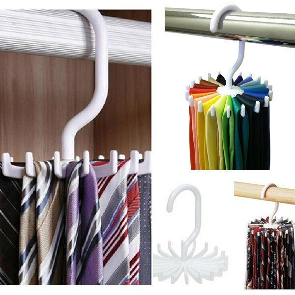 Tie Rack Belt Holders Tie Racks Organizer Hanger Closet 20 Hooks Rotating  Men Neck Ties Housekeeping Organization Hangers Racks