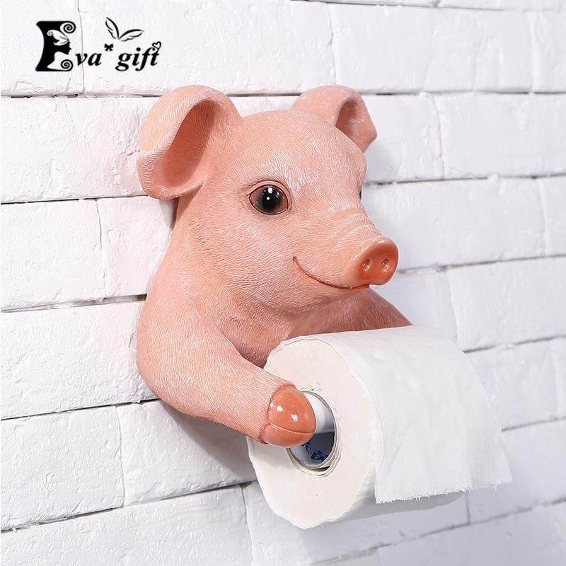 2018 cute pig tissue box for bathroom room roll paper holder toilet