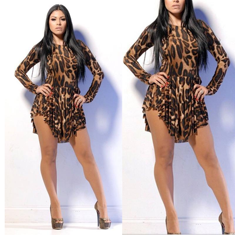 Sexy Women Leopard Plus Size Spring Sexy Dress Leopard Print Slim
