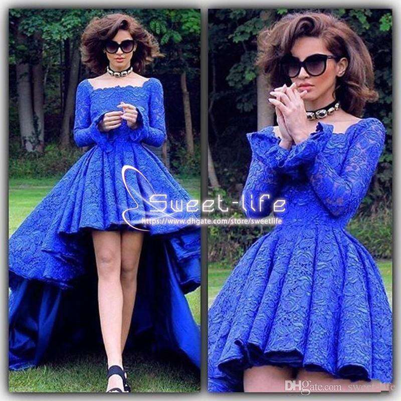 Royal Blue High Low Lace Prom Dresses 2017 Bateau Long Sleeve Occasion Party Gown Africa Boho Homecoming Cocktail Clubwear Evening Gowns