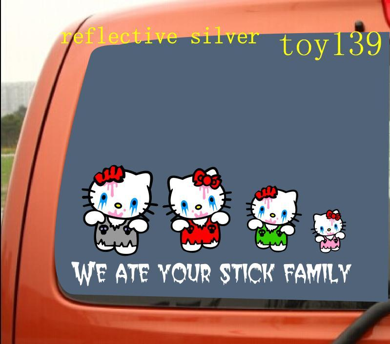 2018 zombie hello kitty family stick figure funny car phone window decal sticker reflective silver reflective red from mysticker 12 07 dhgate com