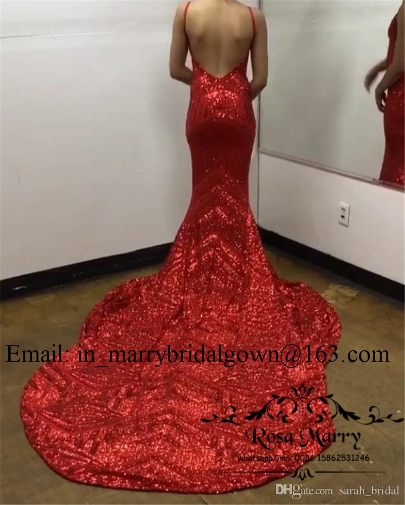Sexy Red Pailletten Mermaid 2K19 Prom Kleider 2020 Backless Plus Size Arabisch Afrikanisch Billig Langer V-Ausschnitt Mädchen Festzug Formale Abendgesellschaft Kleid